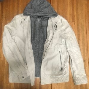 Express faux leather hooded jacket, L